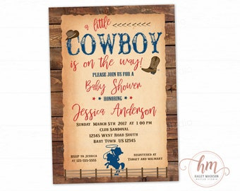 Cowboy Baby Shower Invitation Etsy