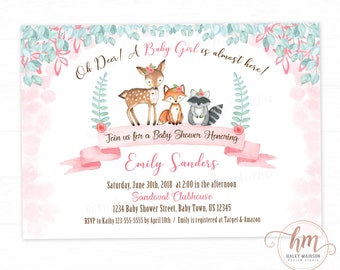 Its a girl invite etsy woodland baby shower invitation its a girl woodland friends invitation girl woodland invitation oh deer invite floral printable file stopboris Gallery