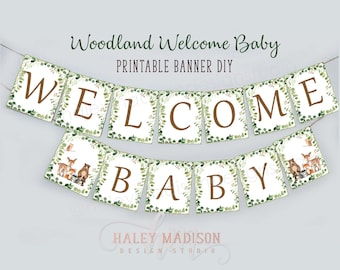 Baby Shower Banner Cursive and Blocky Font Welcome Baby Banner Gender Reveal Onesies or other shapes Banner with NAME Custom Colors