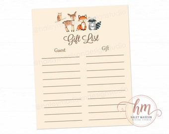 PRINTABLE FILE Woodland Baby Shower presents list Woodland Gift List printable file Woodland Birthday party present tracker