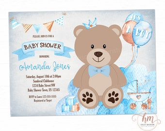 Teddy bear baby shower invitations etsy teddy bear baby shower invitation its a boy baby shower baby blue baby shower invitation boy baby shower baby bear printable file hm888 filmwisefo