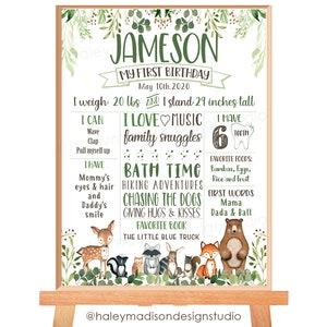 Printable 3705 Woodland Milestone Poster Fox Birthday Poster Watercolor 1st Birthday Decor Animal First Birthday Celebration Poster