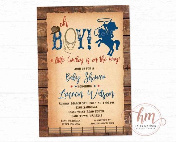 Little Cowboy Baby Shower Invitation, Little Cowboy on the way Invitation,  Rustic Cowboy invitation, Cowboy baby shower PRINTABLE FILE HM788