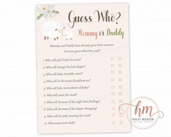 Little Lamb Baby Shower Game Guess Who Mommy Or Daddy Game Etsy