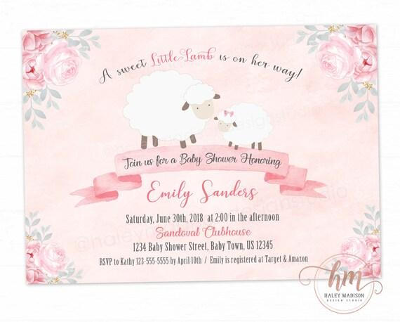 Little lamb baby shower invitation floral lamb invitation etsy image 0 filmwisefo