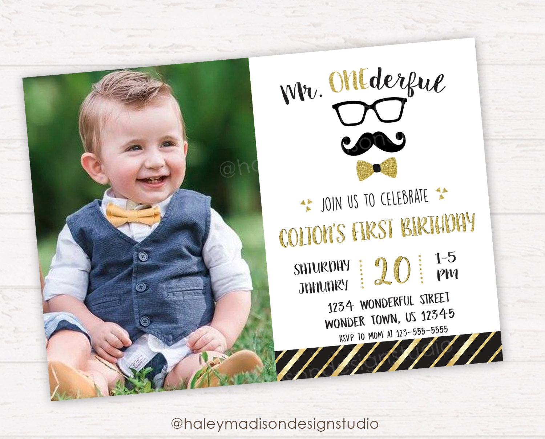 Mr. Onederful Birthday Invitation Little Man First Birthday   Etsy