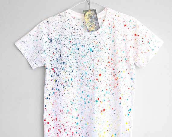 COLOUR SPLASH. 100% organic cotton T shirt. Hand painted. Colour splash t shirt. Colour dot t shirt