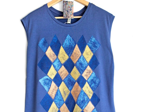 M L VENICE. Blue Ladies sleeveless top with printed vintage looking shiny metallic pattern. Womens singlet.