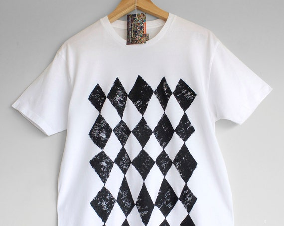 S L XL BLACK HARLEQUIN. 100% cotton T shirt. Hand painted. Graphic t-shirt. Black and white t-shirt.