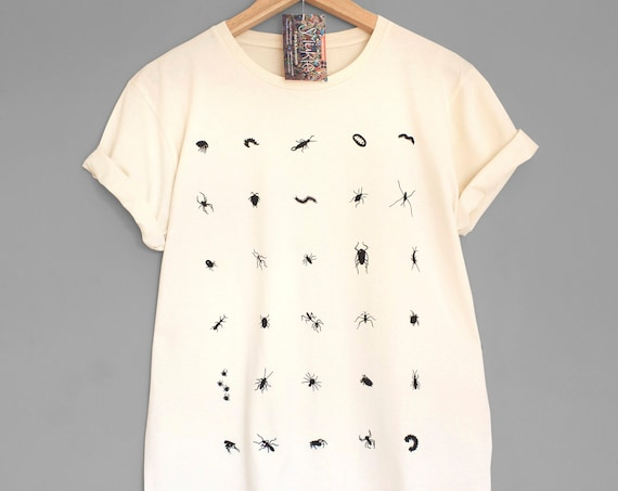 XL CRAWLERS or call It BUGSY. Bugs, insects and other crawlers hand printed. 100% Organic cotton t-shirt.  Unique T shirts.