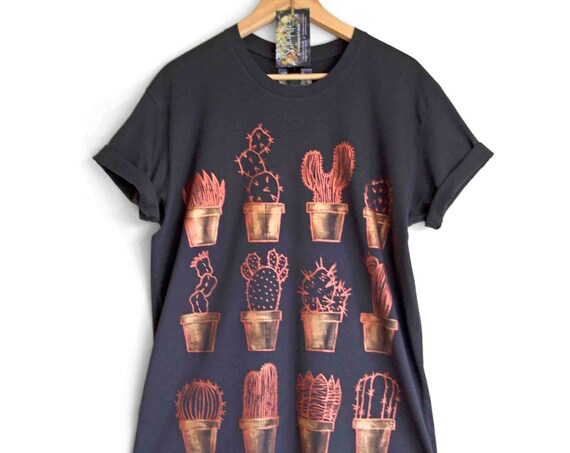 a1feb432e1f Rainbow t-shirt  29.31 COPPER CACTUS t-shirt. 100% cotton Dark T shirt.  Hand painted.
