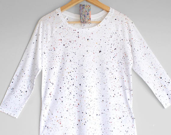 SMART WHITE shirt. White womens top with splash pattern in Gold, Rose Gold, Black, Grey. Womens 3/4 sleeve organic cotton and tencel top.