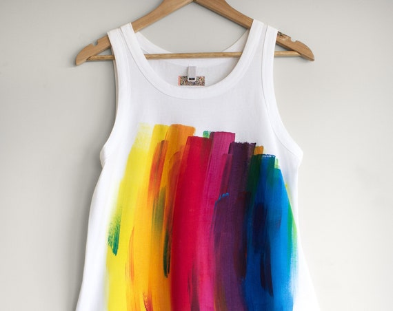 RAINBOW. Rainbow Tank Top. Rainbow Singlet. Rainbow sleeveless t-shirt. Festival outfit