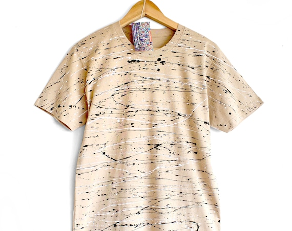JOHN BIRCH. 100% cotton T shirt. Hand painted. Tan colour t-shirt with black and white
