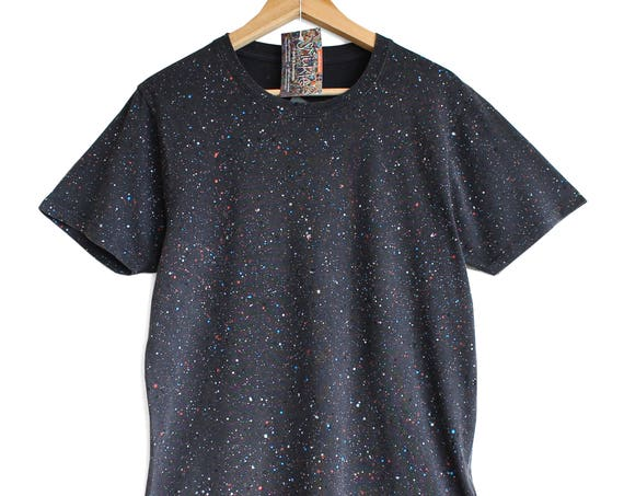 BLACK SPECKLE t shirt. 100% organic cotton t-shirt. Hand printed. Colour splash pattern Black t-shirts.
