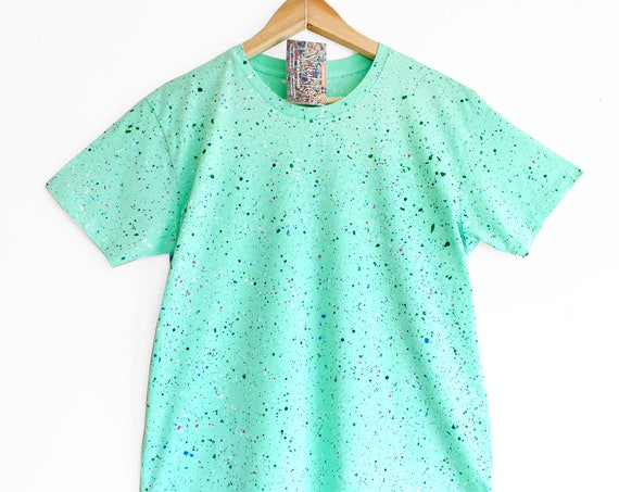 MINT SPECKLE TEE. 100% cotton T shirt. Hand painted. Mint t-shirt. Teal t-shirt. Pastel green t-shirt.