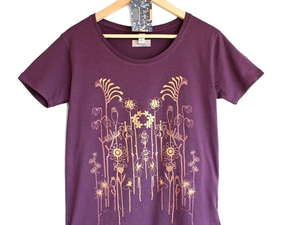 WILDFLOWERS ON PURPLE. Ladies open neck purple t-shirt. Women's organic cotton t-shirt. T-shirt with flowers