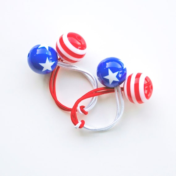 PATRIOTIC. Americana. Hair ties. Elastic hair ties. Funky.  Red. Blue. White. Retro style hair bobbles.