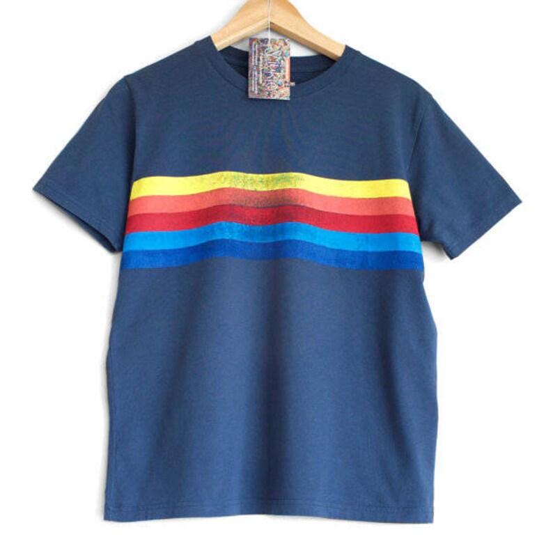 55dab621d RETRO STRIPES t shirt. 100% organic cotton t-shirt. Hand printed. Blue  shirt. Retro stripes. Rainbow t-shirt