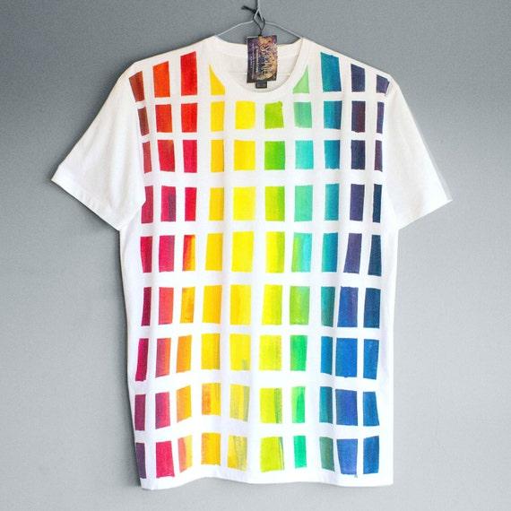BEHIND THE RAINBOW. 100% cotton T shirt. Hand painted. Unique t shirts. Mens Unisex t shirt.