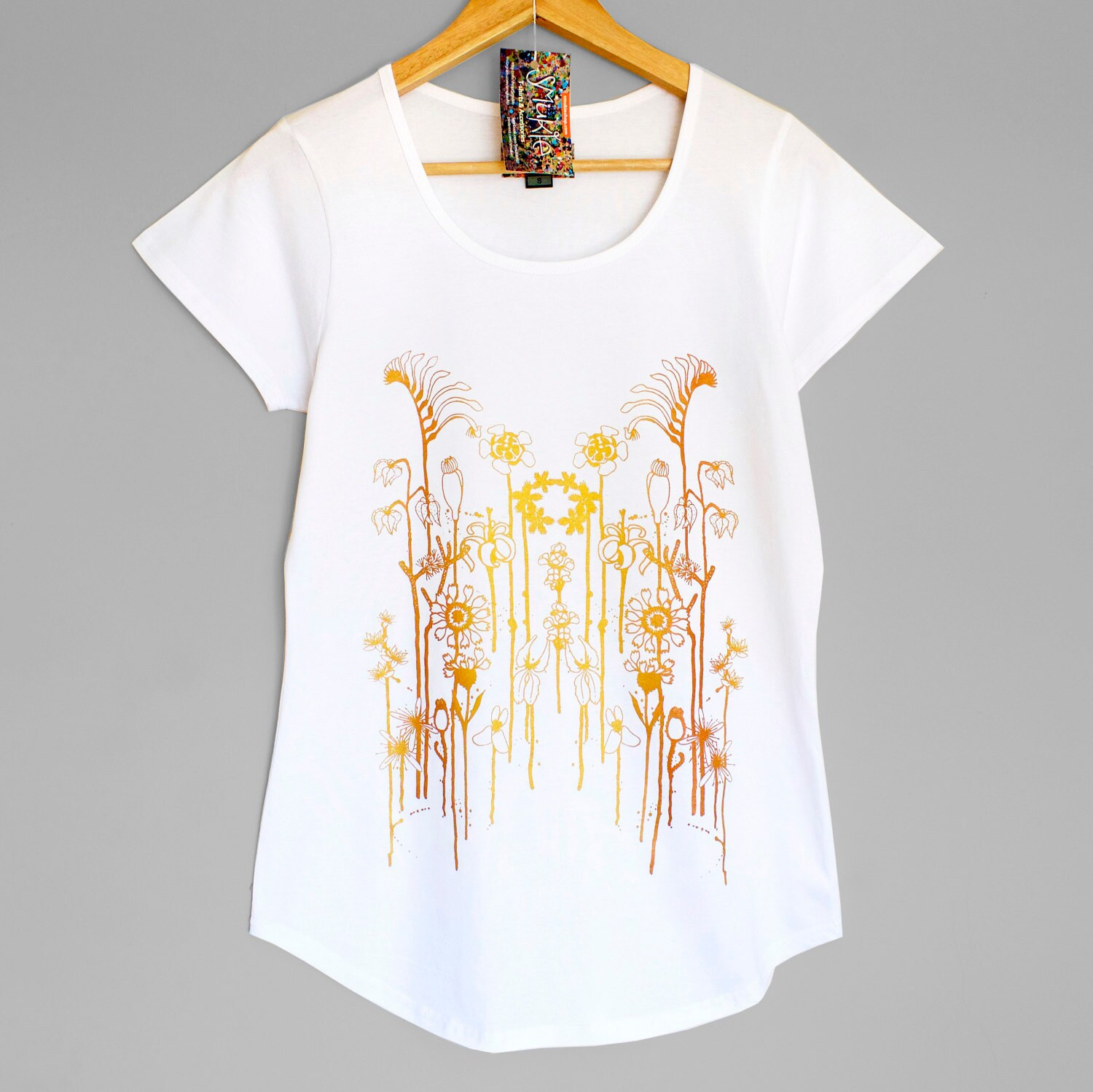 Wild Flowers White Womens T Shirt With Iridescent Gold Copper