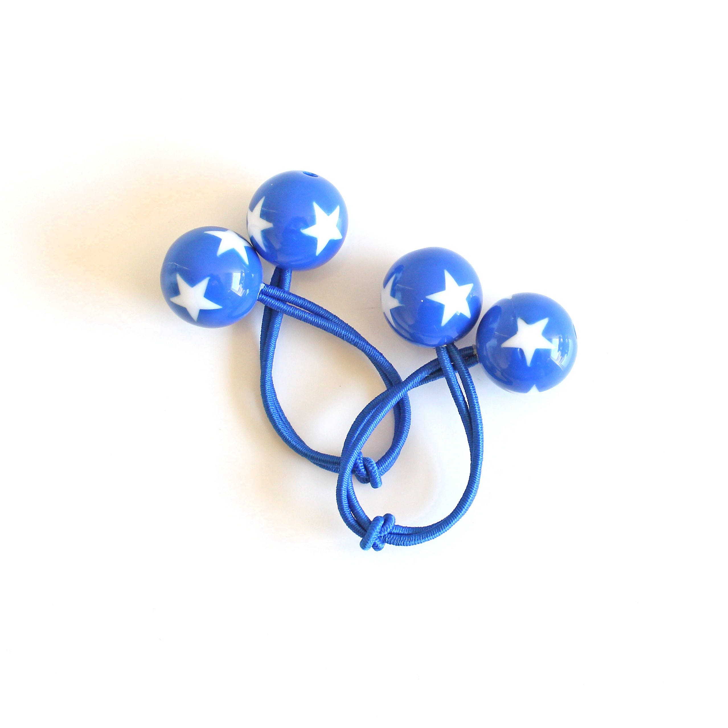 BLUE STARS. Bobble Hair ties. Elastic hair ties. Blue with white stars ... 151173ea0d4