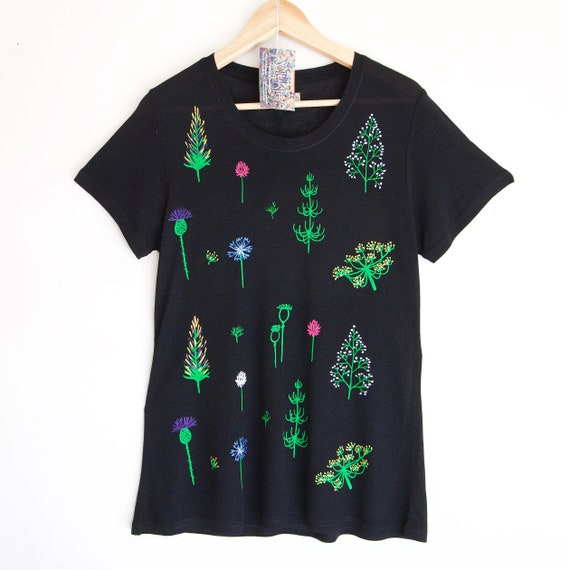 888c67aa8ad S M SUMMER SOLSTICE t shirt. Black floral t shirt. Hand