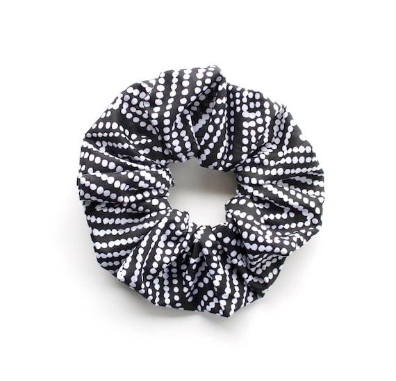 DOTTY SCRUNCHY. Hair Scrunchy or Scrunchie.  Black and White Dots Hair Scrunchies. Retro Hair Accessory