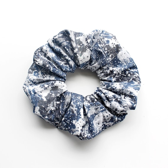 OCEAN. SKY. EARTH.  Large grey Scrunchy or Scrunchie. Women Hair Accessories. Retro Accessory.