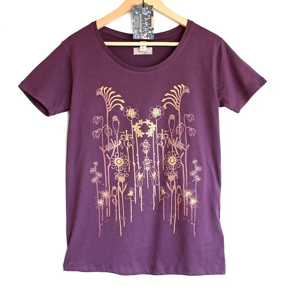 WILDFLOWERS ON PURPLE. Ladies open neck purple t-shirt. Women's organic cotton t-shirt. T-shirt with flowers