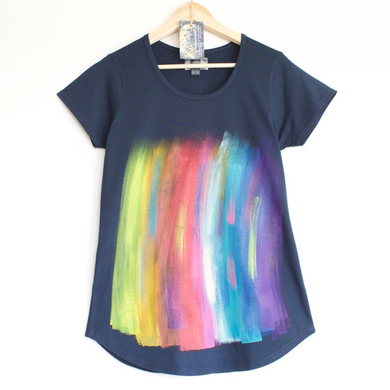 S M L RAINBOW T SHIRT. Rainbow T shirt. Dark blue womens cotton t shirt.  Hand painted. Paint streaks.
