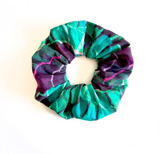 GREEN ENVY. Hair Scrunchy or Scrunchie. Green and purple scrunchy.  Emerald and sapphire green scrunchie.