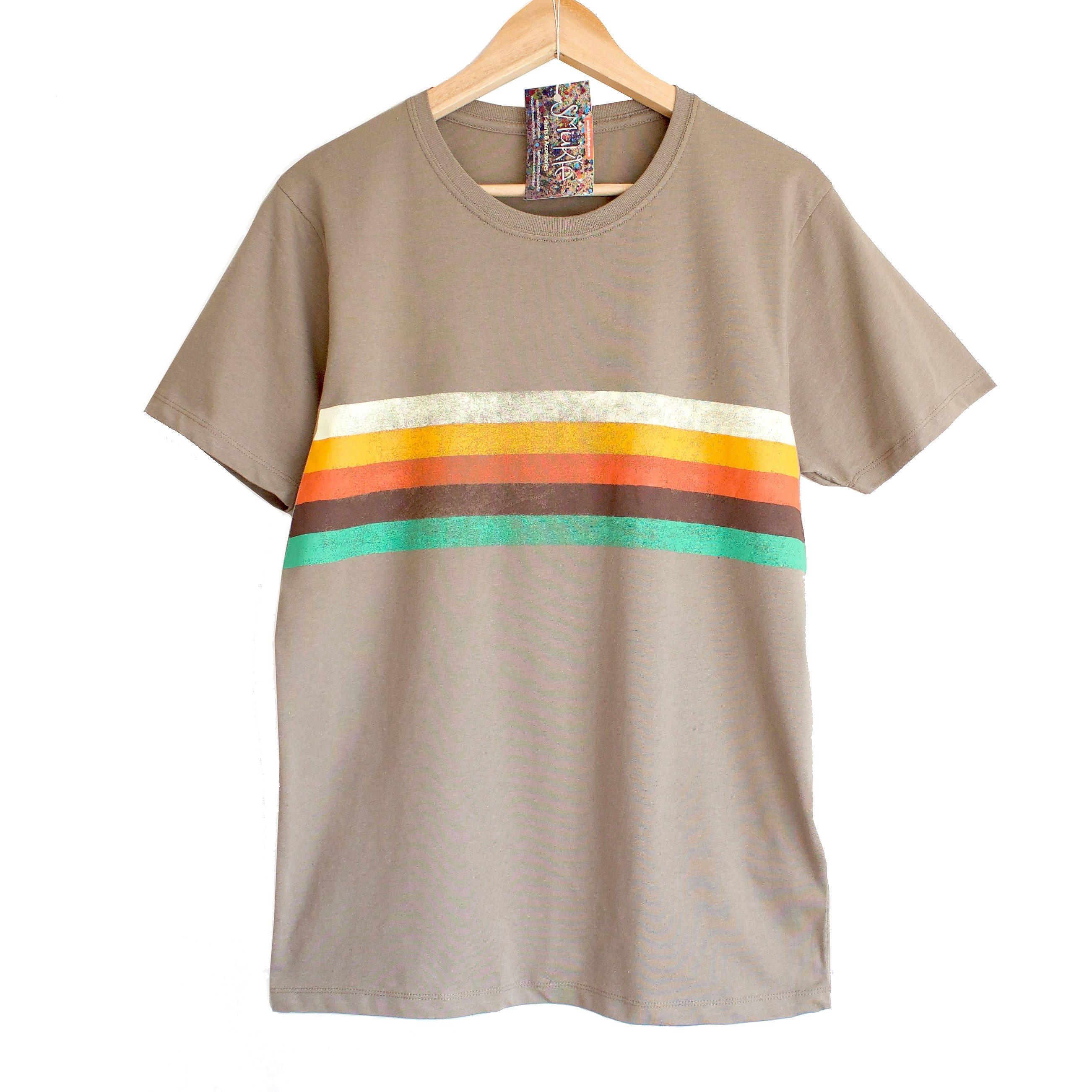 c4cf63405 RETRO STRIPES t shirt. 100% organic cotton t-shirt. Hand printed. Khaki  beige shirt. Retro colours. Rainbow t-shirt