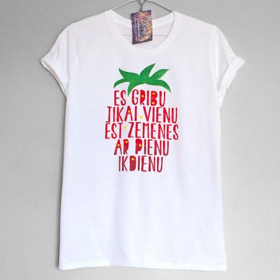 STRAWBERRIES with MILK. 100% organic cotton t-shirt. Hand painted. Hand printed.  Zemenes ar pienu.