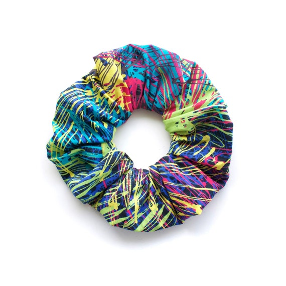 COLOUR BLAST.  Large Scrunchy with bright graphic pattern. Hair Accessories. Retro hair decor.