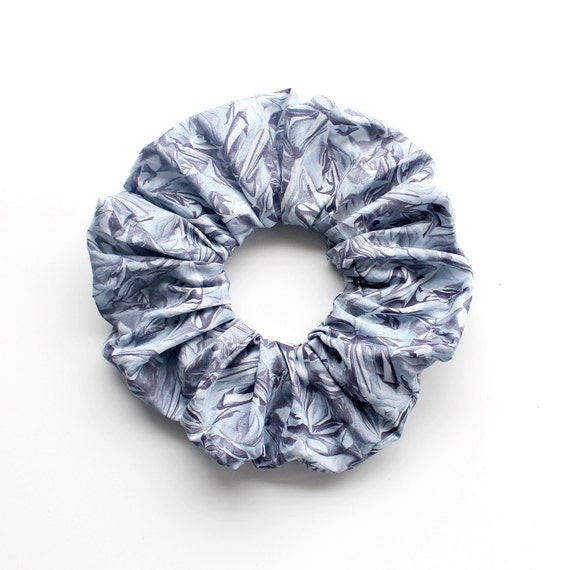 FOIL . Large grey scrunched foil effect Scrunchy or Scrunchie. Women Hair Accessories. Retro Accessory.