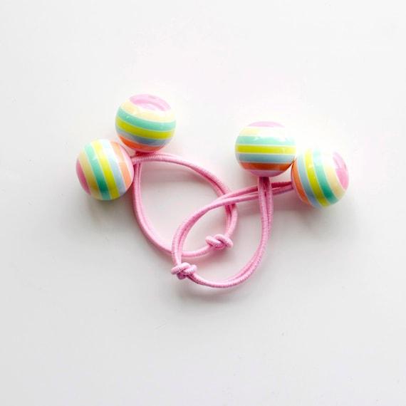 MACAROON bobbles. Bobble hair ties. Elastic hair ties. Funky. Macaroons. Retro style hair bobbles. Pink