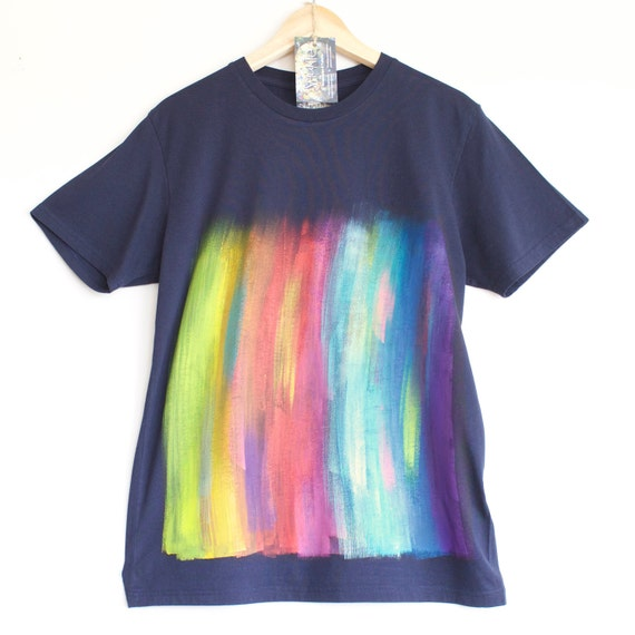 S M L XL RAINBOW t shirt. 100% organic cotton t-shirt. Hand painted. Dark Blue shirt with Rainbow painting. Dark t shirts. Rainbow on dark.