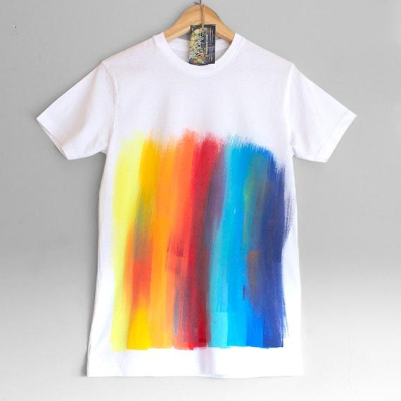 RAINBOW T SHIRT. 100% organic cotton T shirt. Hand painted.  Rainbow on white. Festival T-shirt