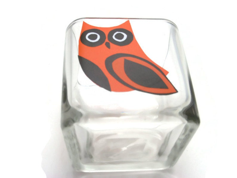 OOAK Housewarming Orange Owl Wedding Hand Cut Gift For 5 Glass Votive Candle Holder With Scented Soy Candle
