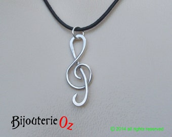 Treble clef pendant necklace, G Clef Pendant, recycled sterling silver  handmade by BijouterieOz.