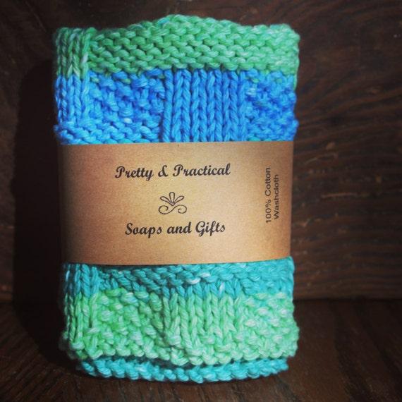 100% Cotton Washcloth, Knitted washcloth, handmade