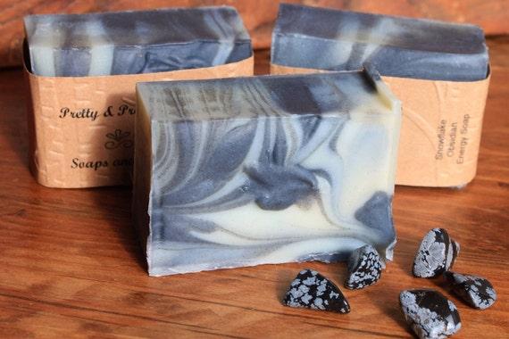 Snowflake Obsidian Soap, positive energy soap, snowflake obsidian embedded soap, crystal surprise soap, essential oils, gemstones,