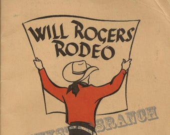 Sale 60% off - Will Rogers Rodeo Colorado Springs  Cowboy Cowgirl  Rodeo 18x24 Vintage Print