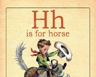 H is for Horse  - 13x19 Print