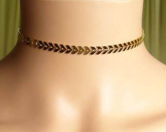 Gold Fishbone Choker Necklace, Gold  silver Choker Necklace,Chevron Chain Choker, Rose Gold Chevron Choker,graduation gifts,birthday present