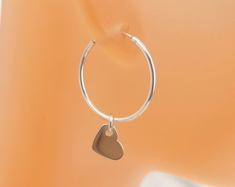 Valentines day gift,Gold silver heart hoop Earrings, Sterling silver and 14K gold filled hoops,Holiday gift,Birthday present