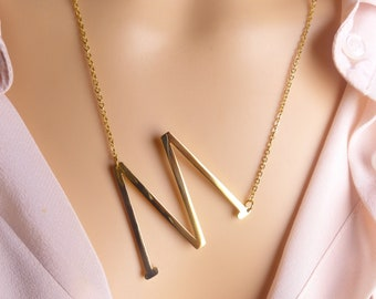 large capital letter m necklace gold initial necklace oversized big capital letter m alphabet personalized necklace jewelry gift ideas