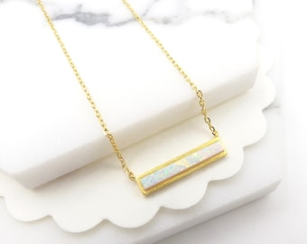 Opal bar pendant necklace,natural gemstone opal bar necklace,gift for mom,mother's day gift, Dainty Necklace,gift for her,birthday present