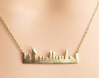 vacation souvenir New York skyline necklace New York vacation necklace New York necklace